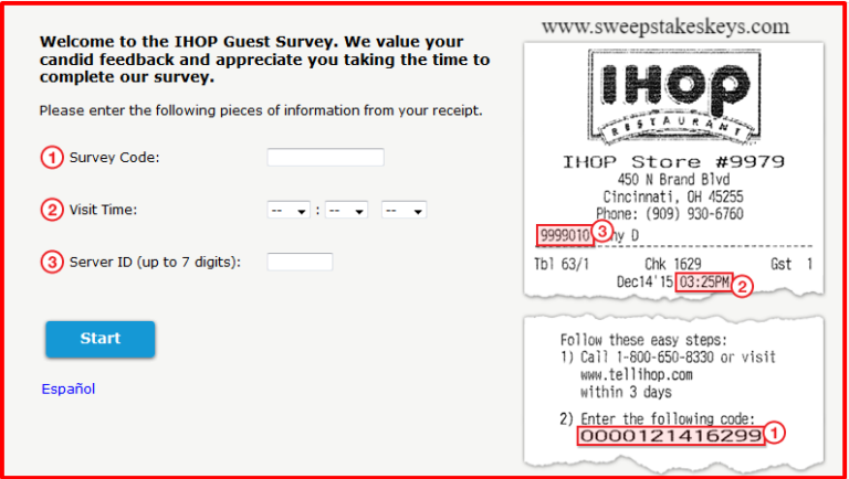 Talk to IHOP Voice of The Guest Survey