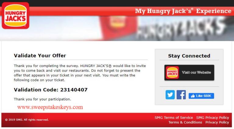 My Hungry Jacks Experience Survey