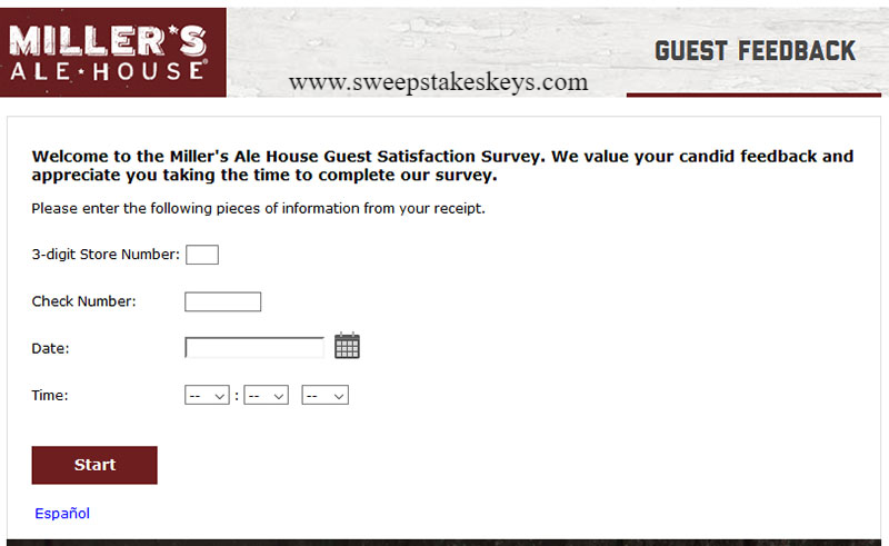 Tell Millers Ale House Customer Satisfaction Survey