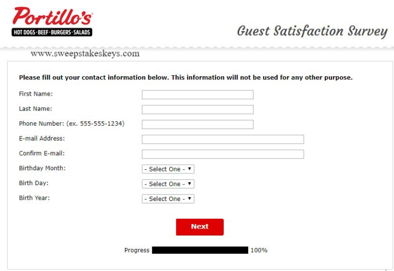 Tell Portillo's Guest Satisfaction Survey