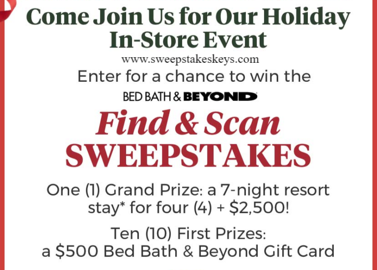 Bed Bath and Beyond Find and Scan Sweepstakes