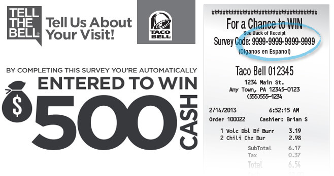 Tellthebell Taco Bell Survey Sweepstakes