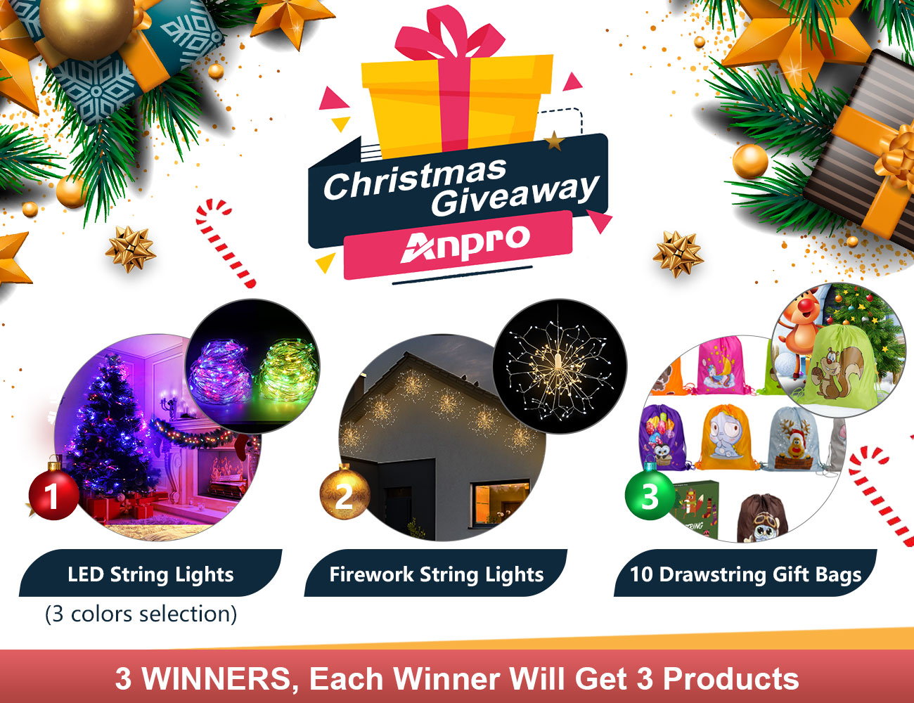 Anpro Christams Deco Lights & Gift Bags Giveaway