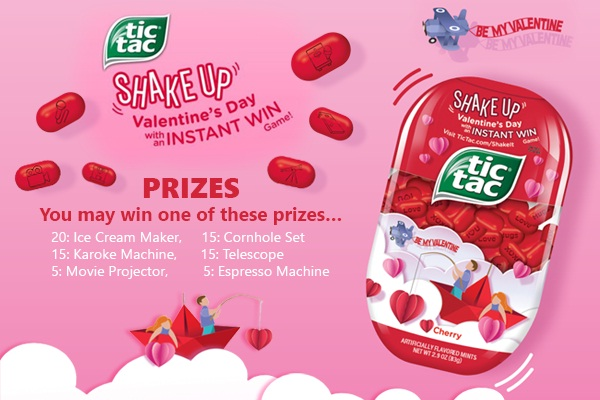 Tic Tac Valentine Day Instant Win Game