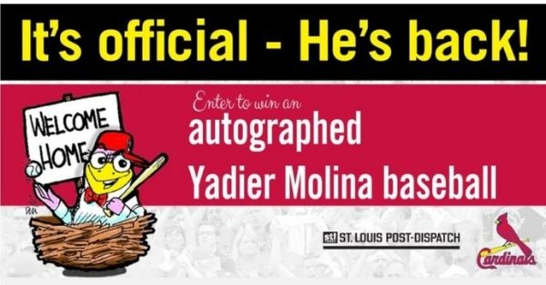 Hes Back Yadi Autographed Ball Sweepstakes