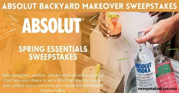 Absolut Backyard Makeover Sweepstakes 2021